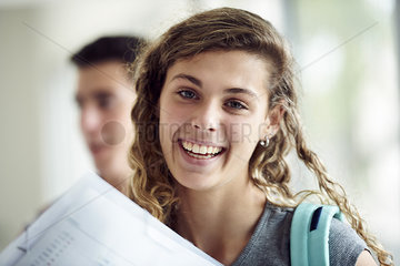 Female high school student smiling cheerfully  portrait