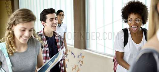 Students chatting and laughing