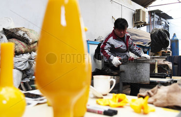 CHINA-SHANDONG-INTANGIBLE CULTURAL HERITAGE-CHICKEN OIL YELLOW GLAZE
