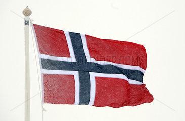 Malung  Schweden  Nationalfahne von Norwegen weht im Wind