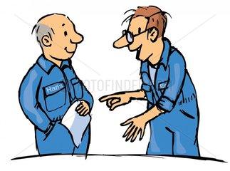 Zwei Arbeiter im Blaumann 2
