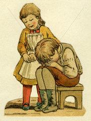 Maedchen troestet weinenden Jungen  Illustration  1881