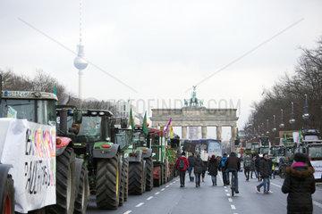 Berlin  Deutschland  Demo - Wir haben es satt! auf der Strasse des 17. Juni vor dem Brandenburger Tor
