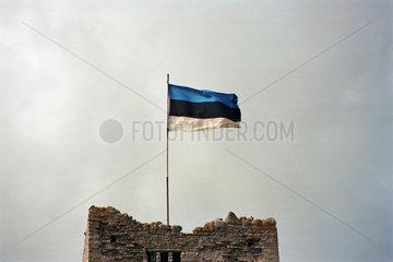 Die estnische Fahne auf einem Turm in Rakvere  Estland