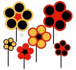 Blumen grafisch schwarz rot gold German Germany