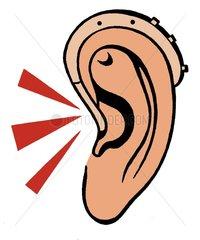 Ohr mit Hoergeraet