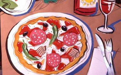 Pizza Italiano Salami Pepperoni Oliven Mozzarella Tomaten