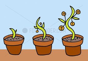 Geldwachstum Blumentoepfe Symbol Geldanlage