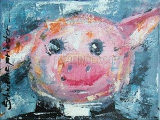 Schwein Karikatur Priester
