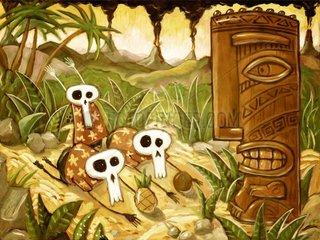 Verbeugung vor einer Tiki-Statue - Serie Tiki