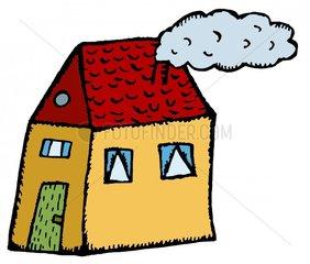 Haus Schornstein Rauchwolke heizen freigestellt