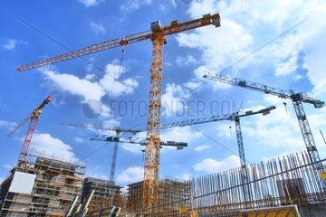 Kraene auf Baustelle