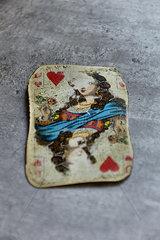 Alte Spielkarte Herzdame