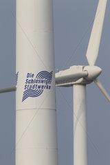 Schleswig  Deutschland  Windkraftanlagen der Schleswiger Stadtwerke GmbH