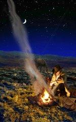 Western Lagerfeuer sternenklare Nacht einsamer Mann