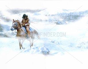 Western einsamer Reiter Schnee Schneesturm