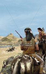 Western Ueberfall Indianer Fluss