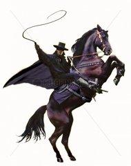 Ranger maskierter Mann Reiter Pferd aufbaeumend Peitsche freigestellt