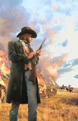 Western Indianer Mann mit Gewehr