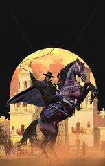 Ranger maskierter Mann Reiter Pferd aufbaeumend Peitsche mit Hintergrund