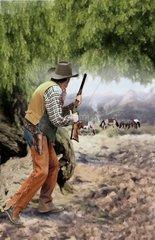 Ueberfall Western weidende Pferde Pferdedieb