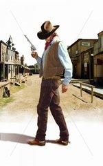 Western Verfolgung Mann Pistole