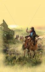 Savanne Western Verfolgungsjagd Reiter
