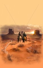 Steppe Sonnenuntergang zwei Reiter Western
