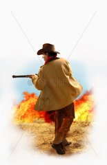 Western Mann Gewehr Brand Feuer