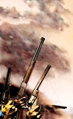 Western Gewehre Pistolen Haende Himmel