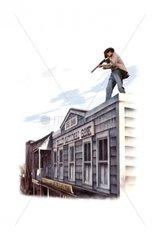 Selbstjustiz Western Mann auf Hausdach Gewehr