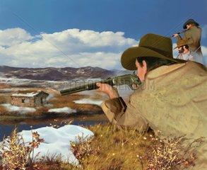 Western Verfolgung Gewehr Maenner Schneeschmelze