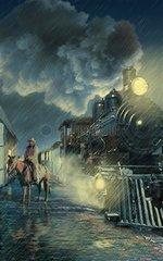 Train Bahnhof Reiter Western nachts Regen