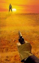 Blutrache High noon Sonnenuntergang Ziel Pistole Western