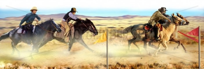 Western Verfolgung Reiter Praerie