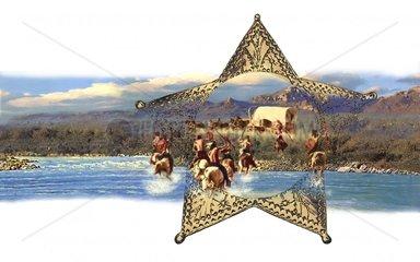 Western Flussueberquerung Planwagen Indianer Angriff