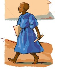 African Girl in School-Uniform