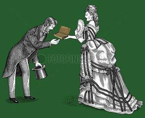 Mann Frau 19.Jahrhundert galant Geschenk