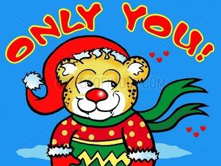 Weihnachten Leopard im Socken im Anschnitt mit Text
