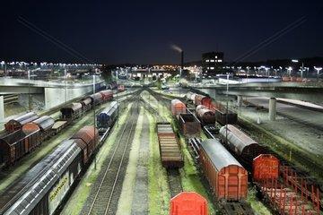 Rangierbahnhof bei Nacht