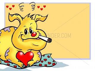 Rauchender Hund Anschnitt
