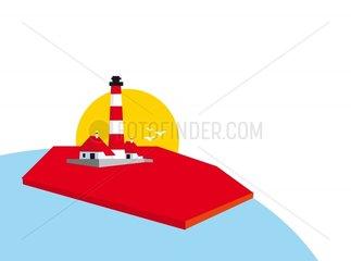 Globus Weltkugel Nordsee Leuchturm Symbol Logo freigestellt