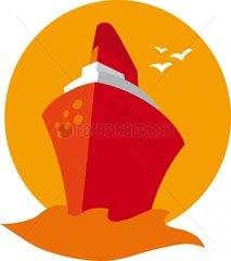 Kreuzschiff Rottoene Moewen Kreuzfahrt Reisen Symbol Logo freigestellt