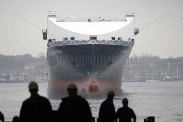 Flensburg  Deutschland  Stapellauf  Neubau der Roro-Faehre Seatruck Power wird zu Wasser gelassen