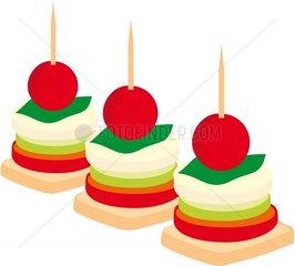 Party Haeppchen Einladung Symbol Logo freigestellt Tomate Mozarella