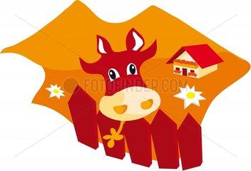 Kuh Berge Rottoene Symbol Logo freigestellt