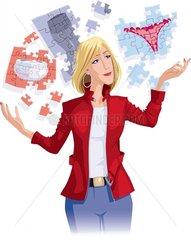 Konsumverhalten Puzzleteile Frau