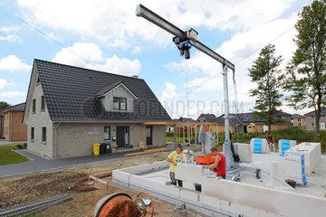 Flensburg  Deutschland  im Flensburger Stadtteil Gartenstadt Weiche wird ein Einfamilienhaus gebaut