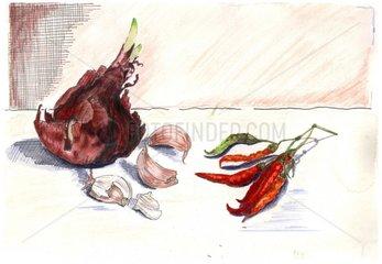 Zwiebeln Knoblauch Peperoni Serie Gemuese Food Rezepte