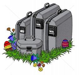 Vier Koffer Osterferien Ostern Reise